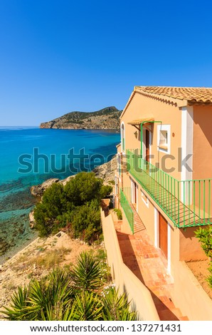 Apartment house view bay beach mountains, Camp de Mar, Majorca island, Spain - stock photo