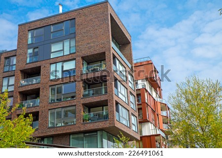 Apartment houses in the Hafencity in Hamburg - stock photo