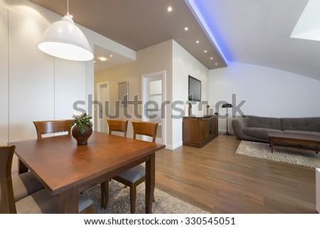 Apartment in the attic - stock photo