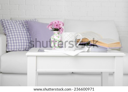 Apartment interior and decor in gentle tones - stock photo