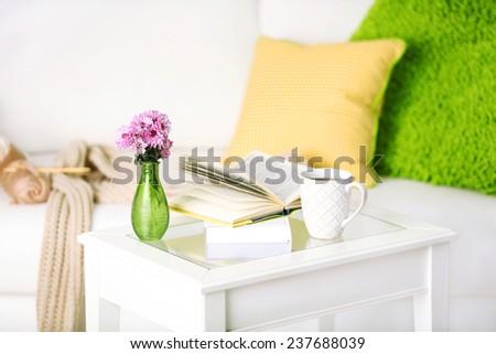 Apartment interior in white color with bright decorative elements - stock photo