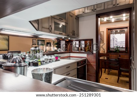 Apartment interior - kitchen area - stock photo