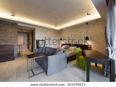 Apartment interior, living room and bedroom