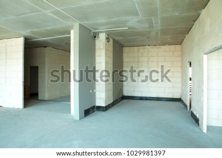 Apartment Under Construction. Interior Partition. Walls Made Of Aerated  Concrete Blocks, Cement Screed