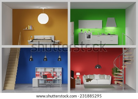 Apartment with four colorful rooms in a living box (3D Rendering) - stock photo