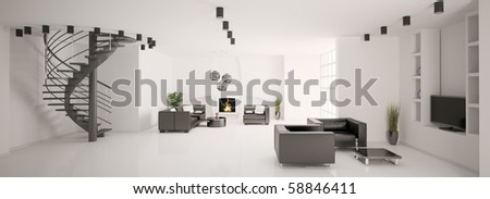 Apartment with stair and fireplace interior panorama 3d render