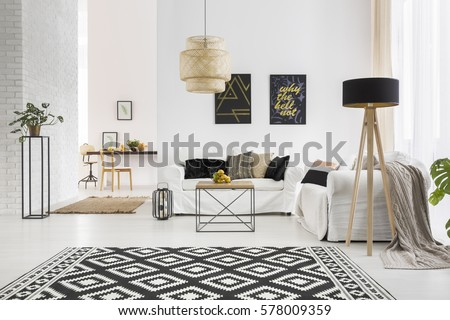 Apartment With White Brick Wall Sofa Table And Pattern Rug