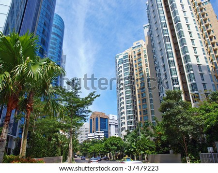 Apartments and condominiums of Singapore residential skyline - stock photo