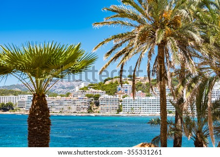 Apartments and luxury residential houses built on Santa Ponca hill   Holiday condominium in Mediterranean architecture style, located in Santa Ponsa on the Balearic island Majorca - stock photo