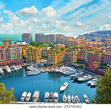 Apartments and luxury yachts in the harbor of Monte Carlo, Monaco, Europe - stock photo