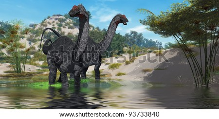 Apatasaurus 02 - Two Apatasaurus dinosaur wade through a lush pond looking for plants to eat. - stock photo