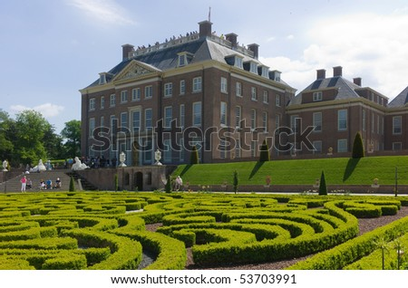 APELDOORN - MAY 23: The Royal Loo Palace as seen from the gardens May 23, 2010 in Apeldoorn, the Netherlands. - stock photo