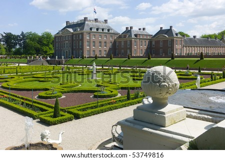 APELDOORN - MAY 23: The Royal Loo Palace as seen from the gardens May 23, 2010 in Apeldoorn, the Netherlands - stock photo