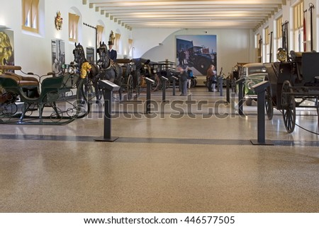 Apeldoorn, Netherlands, June 30, 2016: Interior of the coach house of Het Loo Palace in Apeldoorn, Netherlands - stock photo