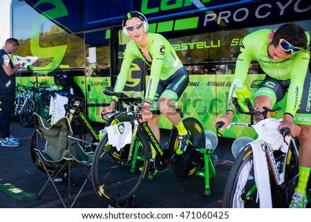 Apeldoorn, Netherlands May 6, 2016;  Davide Formolo is warming up concentrated on the rollers before the Time Trial stage at Apeldoorn.