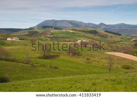Apennines with wind turbines in umbria - stock photo