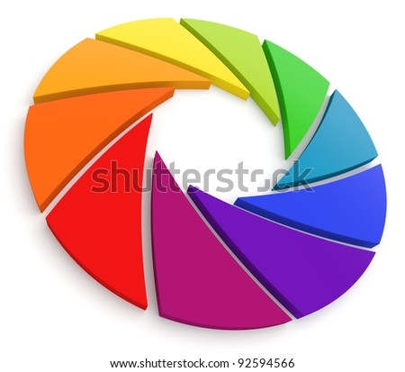 Aperture Color Wheel 3D. See my portfolio for more color wheels. - stock photo