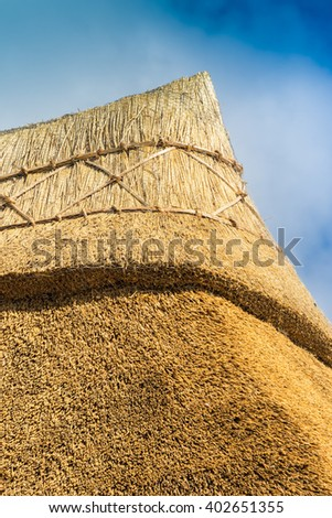Apex of a freshly thatched cottage roof in an English country village - stock photo