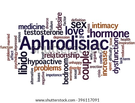 Aphrodisiac, word cloud concept on white background.