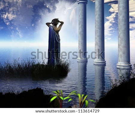 Aphrodite the Greek goddess of love, known to the Romans as Venus, standing in a temple grotto, 3d digitally rendered illustration - stock photo