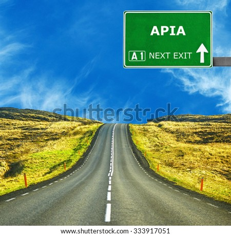 APIA road sign against clear blue sky - stock photo