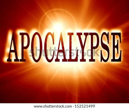 apocalypse written on a soft red background - stock photo
