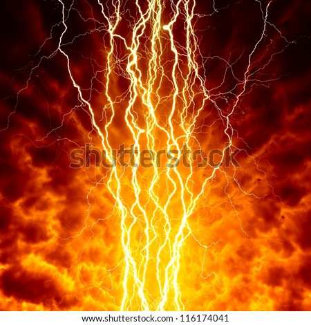 Apocalyptic, armageddon background - bright lightnings in dark red sky. Hell, inferno. - stock photo