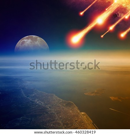 Apocalyptic background -  asteroid impact, end of world, judgment day. Group of burning exploding asteroids approaches to surface of planet Earth. Elements of this image furnished by NASA - stock photo