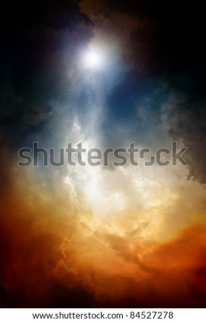 Apocalyptic background - dark dramatic sky, bright light form above. End of time, armageddon, countdown to armageddon, nostradamus armageddon 2012, mayan apocalypse 2012 - stock photo