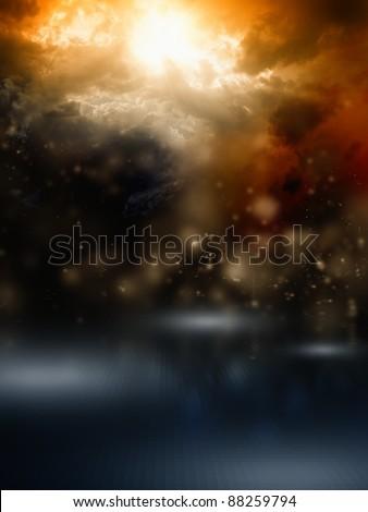 Apocalyptic background - dark dramatic sky, bright sunlight - stock photo