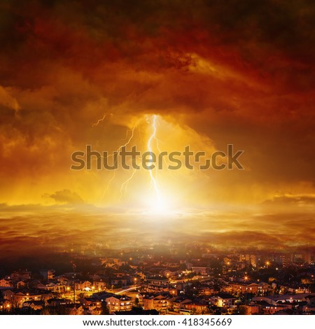Apocalyptic background - judgment day, end of world, huge powerful lightning hits city from red glowing skies - stock photo