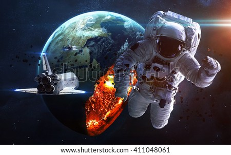 Apocalyptic background - planet Earth exploding, armageddon illustration, end of time. Elements of this image furnished by NASA - stock photo
