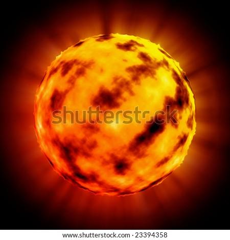 apocalyptic burning planet - stock photo