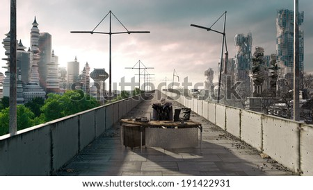 Apocalyptic concept background of futuristic and destroyed city with sitting skeleton - stock photo
