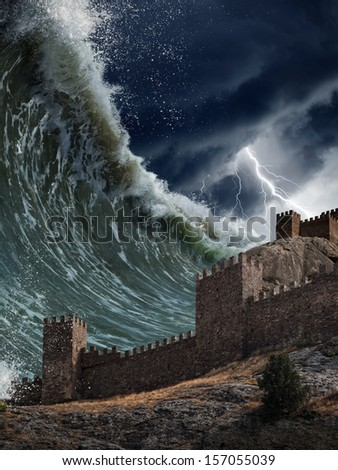 Apocalyptic dramatic background - giant tsunami waves crashing old fortress, tower. Stormy sky with lightning. - stock photo