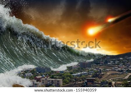 Apocalyptic dramatic background - giant tsunami waves crashing small coastal town, asteroid impact, end of world - stock photo