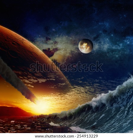 Apocalyptic dramatic background - giant tsunami waves crashing small coastal town, asteroid impact, end of world, exploding moon.  Elements of this image furnished by NASA nasa.gov - stock photo