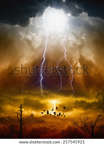 Apocalyptic dramatic background - lightnings in dark red sky, flock of flying ravens, crows in dark red moody sky, judgment day - stock photo