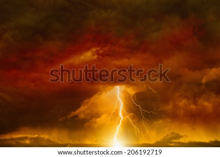 Apocalyptic dramatic background - lightnings in dark red sky, judgment day, armageddon - stock photo