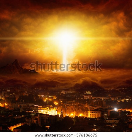 Apocalyptic religious background - huge powerful lightning hits city, judgment day, end of world, red glowing skies - stock photo