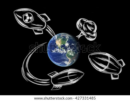 Apocalyptic scene of atomic war. Mass attack of flying missiles around Earth and explosion. Rough illustration mady by chalk. Element of this image furnished by NASA. - stock photo