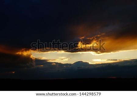 Apocalyptic sky in Quebec City - stock photo