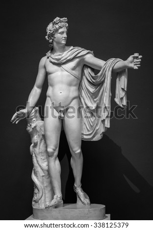Apollo Belvedere statue. This sculpture is marble copy of lost bronze original made by Greek sculptor Leochares. - stock photo