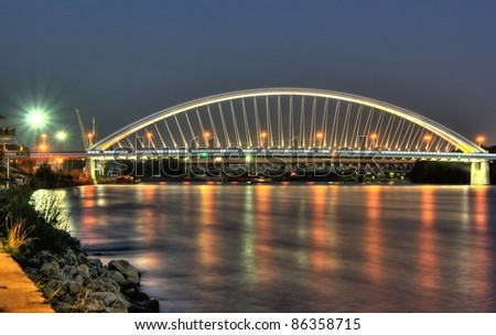 Apollo bridge  in the evening, Bratislava town, Slovakia - stock photo