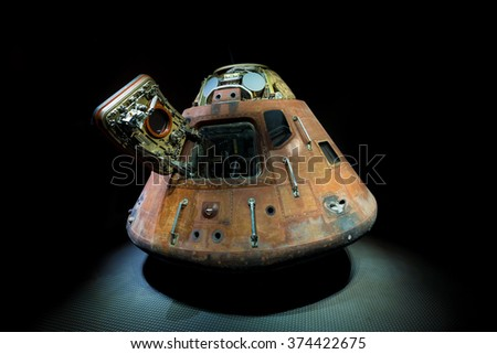 Apollo 14 Command Module, Kennedy Space Center in Florida, 13th January 2014 - stock photo