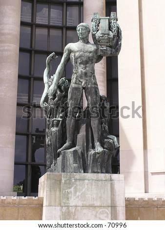 Apollo greek deity statue in front of Palace Chaillot Paris France - stock photo
