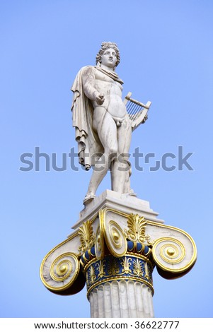 Apollo in front of the Academy of Athens - stock photo