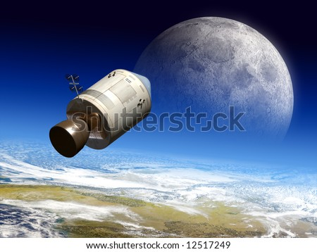 Apollo module flying to the moon. Digital illustration. - stock photo