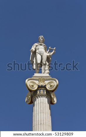 Apollo statue at the Academy of Athens building in Athens, Greece - stock photo
