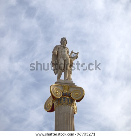 Apollo statue, god of music and poetry - stock photo